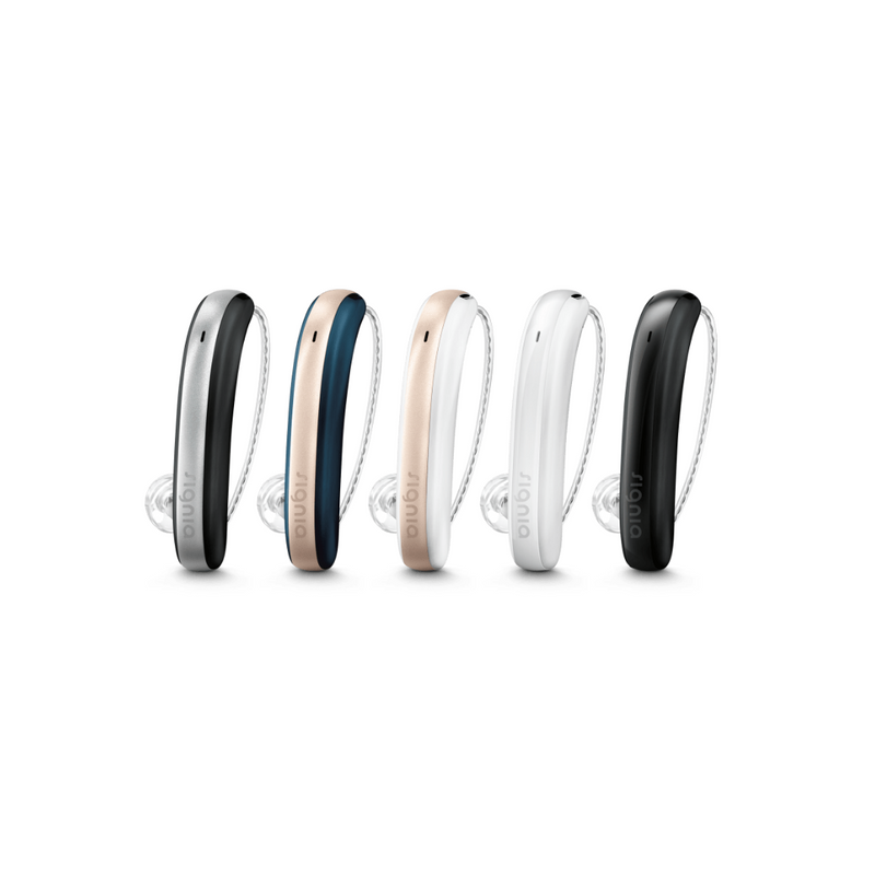 Five elegant Signia Styletto 3X/7X hearing aids in black/silver, blue/rose, white/rose, white and black for premium audiology service