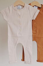 Ribbed Henley Romper - Almond