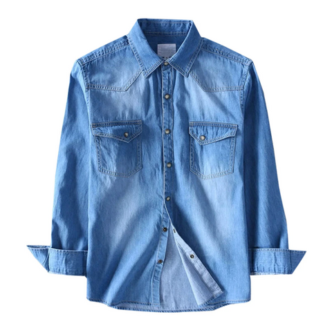 Light Denim Shaded Full Sleeve Shirt!