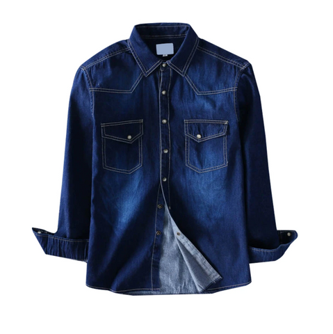 Slim Washed Denim Casual Shirt