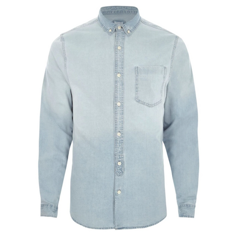 Men's Solid Slim Fit Casual Denim Shirt