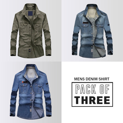 Pack Of Three Regular Fit Washed Denim Shirt
