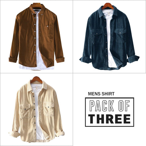 Combo Of 03 Mens Corduroy Solid Color Patchwork Lapel Pocket Long Sleeve Shirts