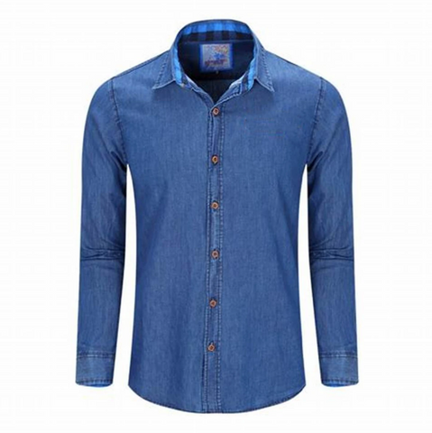Printed Denim Slim Casual Shirt