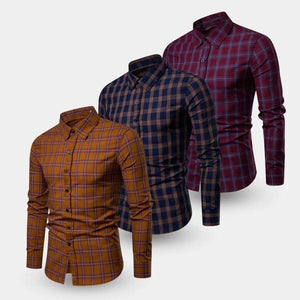 Combo Of 3 Premium Slim Fit Cotton Fabric Check Shirts For Men (TS07)
