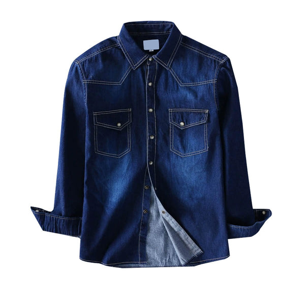 Pack Of Three Denim Shirt Men Long Sleeve Black Dark Blue Military Cotton
