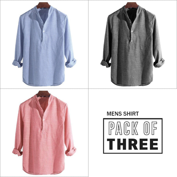 Combo Of 03 Mens Casual Shirts Dress Shirts Striped Henley Collar V-neck T-Shirt Button