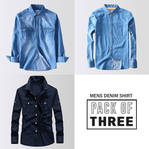 Pack Of Three Men's High Quality Military Casual Brand Long Sleeve Denim Shirt