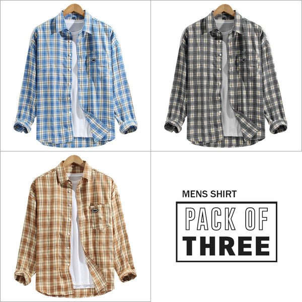 Combo Of 03 Mens 100% Cotton Colorful Stripe Patch Pocket Breathable Long Sleeve Shirts