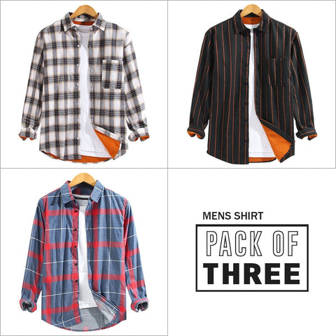 Combo Of 03 Patch Pocket Breathable Long Sleeve Shirts