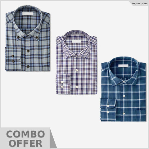 Combo Of 3 Slim Fit Solid Formal Shirt