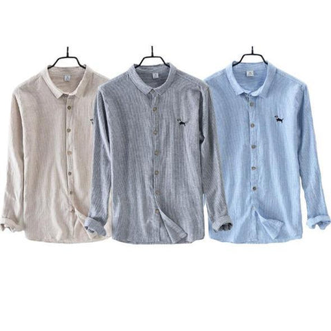 Combo of 03 New Style Stripe Embroidered Shirt