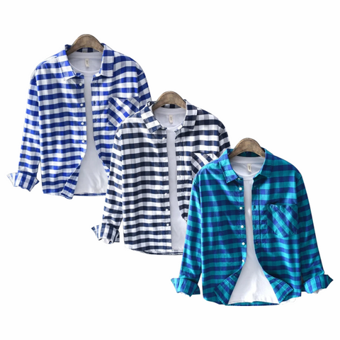 Combo Of 3 Blue Plaid Checked Full Long Sleeve Men Shirts