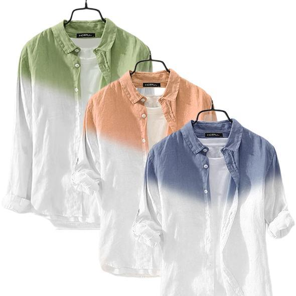 Combo Of Gradient Button Chic High Street Men Casual Shirts