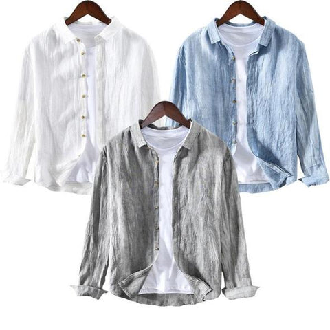 Combo of 03 Solid Color Pleated Long Sleeve Shirts
