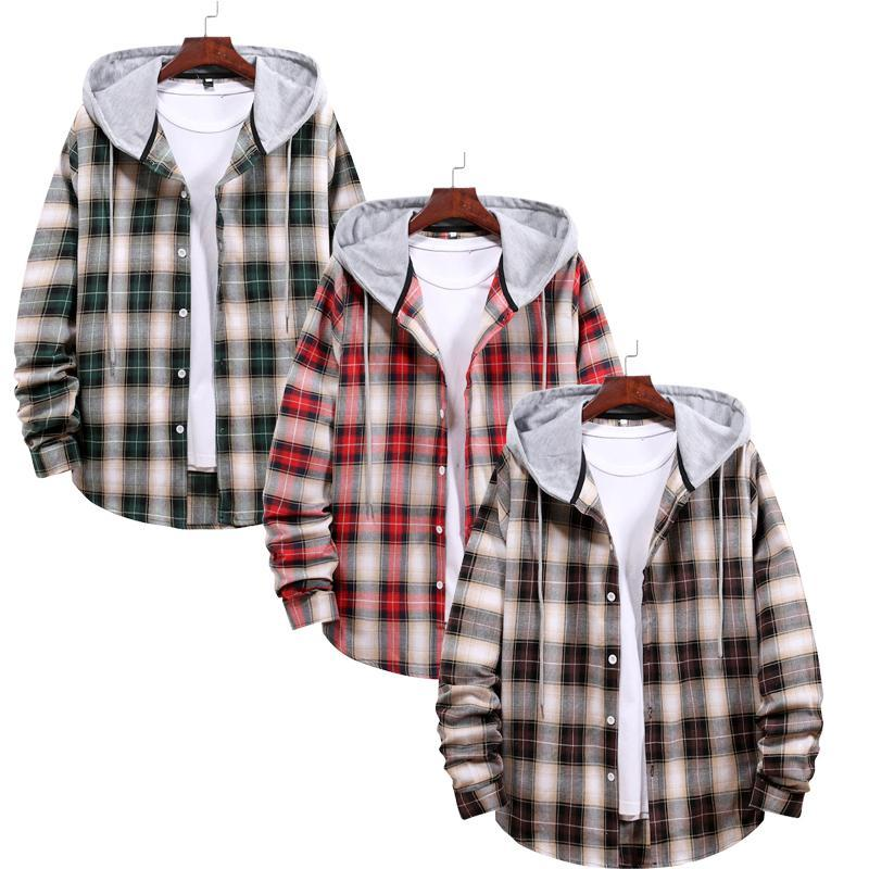 Combo Of 03 Hooded Plaid Shirt