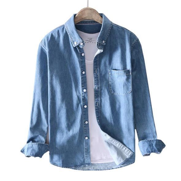Combo Of Solid Long Sleeve Tops Man High Quality Blue Shirt