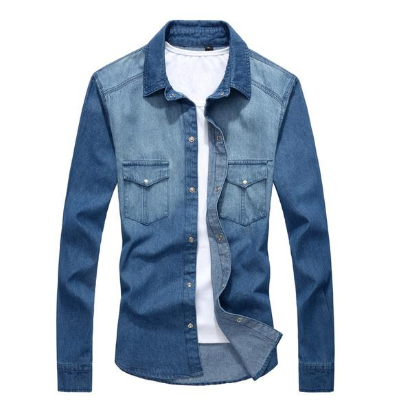 New Men's Spring Casual Denim Shirt Slim Stylish Wash Jeans Shirts