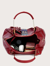 Load image into Gallery viewer, 3 Pcs Geo Metric Graphic Maroon Bag Set