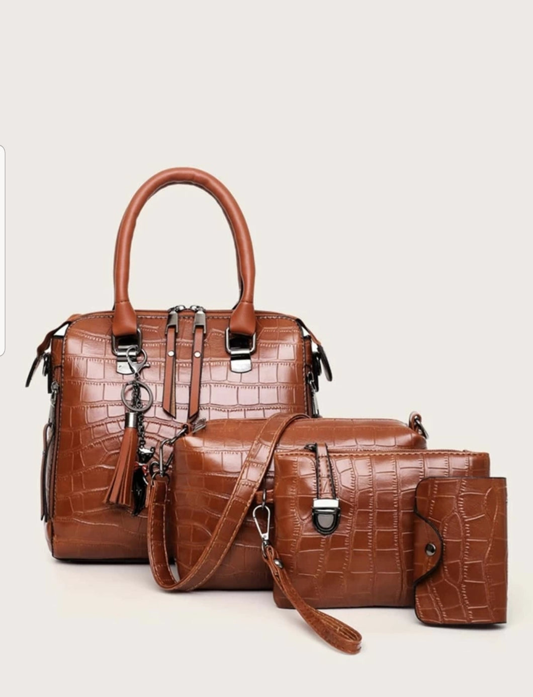 4 Pcs Dark Hazel Croc Bag Set
