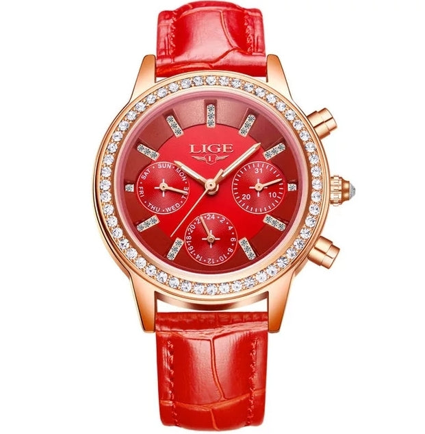 Luxury Brand Women Watches Red Leather