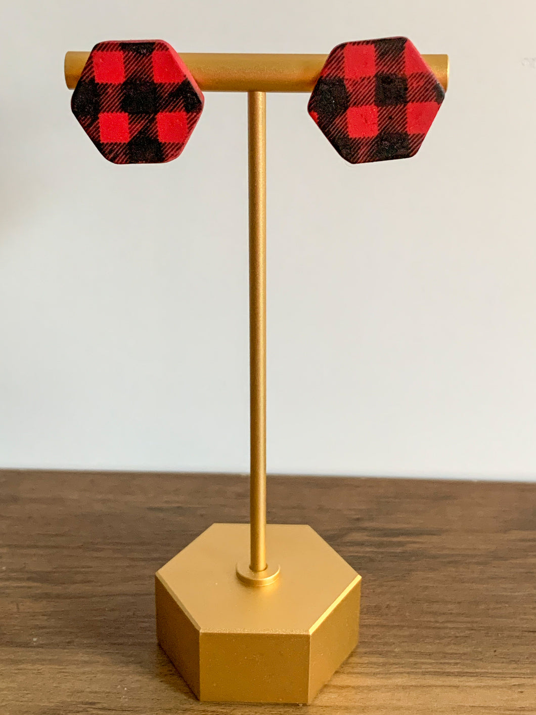 Buffalo Plaid Hex Studs