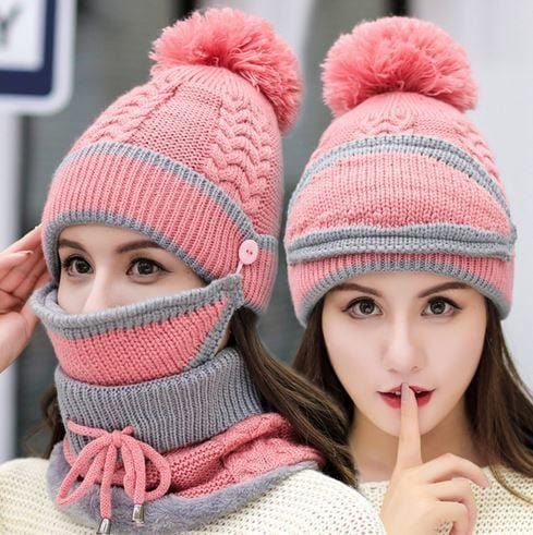 3 in 1 Winter Knitted Beanie Hat Face Neck Warmer Set for Women