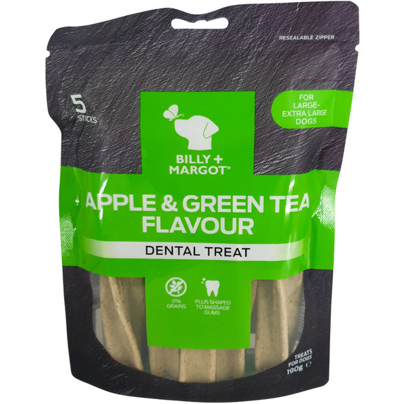 Billy & Margot Apple and Green Tea Flavour Dental Treat L/XL