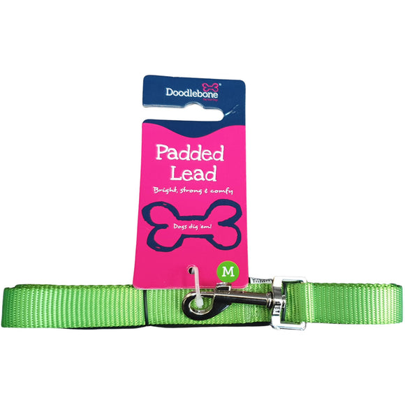 Doodlebone Padded Lead Lime Green Medium