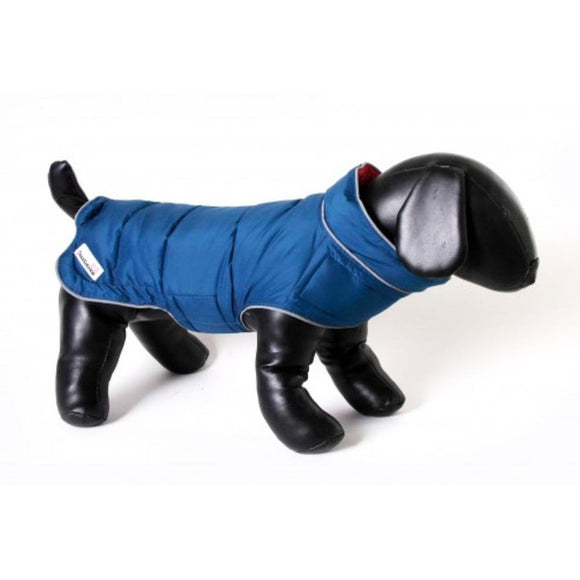Doodlebone® Combi-Puffer Dog Jacket - Raspberry/Blue