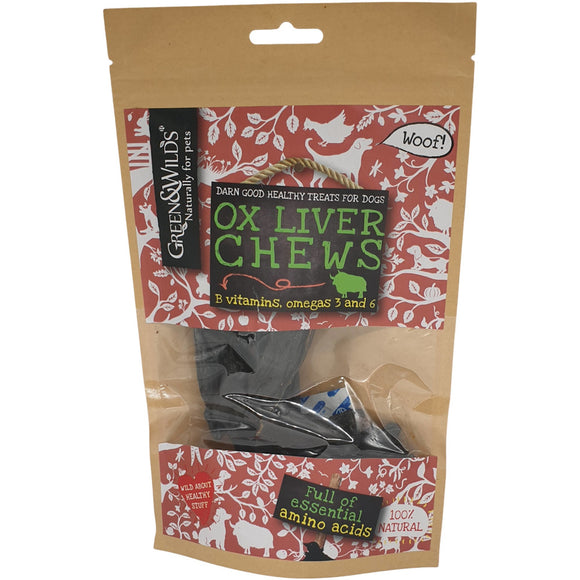 Green & Wilds Ox Liver Chews 100g **REDUCED**