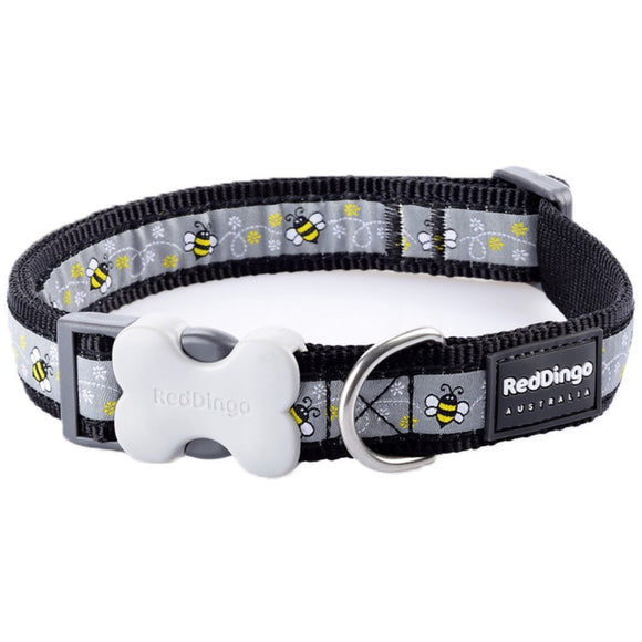 Red Dingo Design Dog Collar Black Bumble Bee