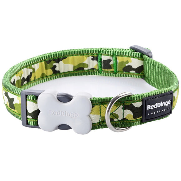 Red Dingo Design Dog Collar Green Camouflage