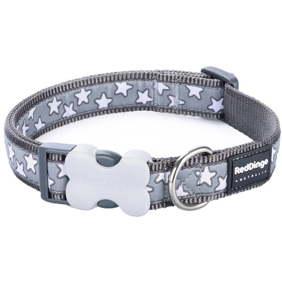 Red Dingo Design Dog Collar Grey with Stars