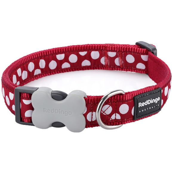 Red Dingo Design Dog Collar Red with Spots