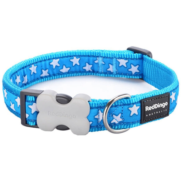 Red Dingo Design Dog Collar Turquoise with Stars