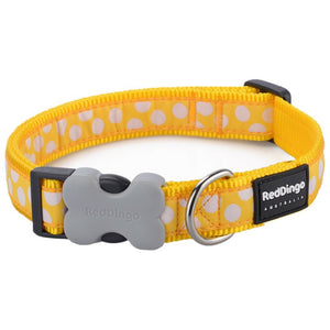 Red Dingo Design Dog Collar Yellow with Spots