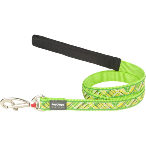 Red Dingo Design Dog Lead Lime Green Flanno