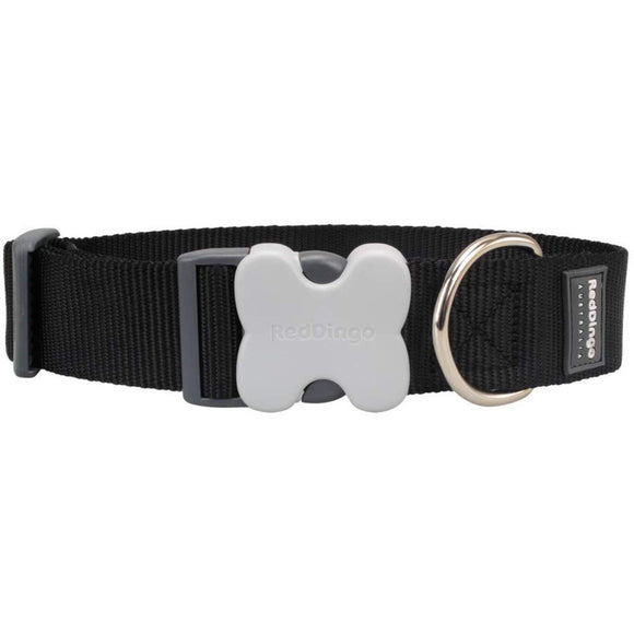 Red Dingo Plain Dog Collar Giant Short - Black