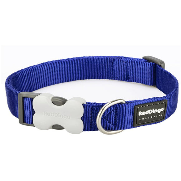 Red Dingo Plain Dog Collar Blue