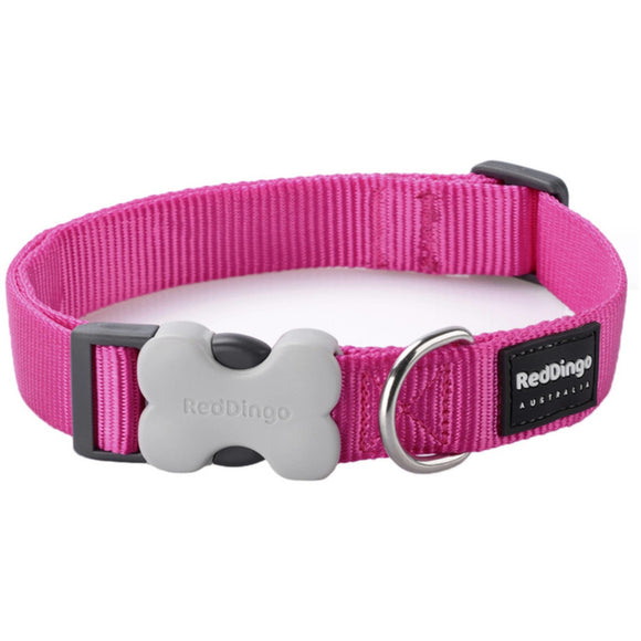 Red Dingo Plain Dog Collar Pink