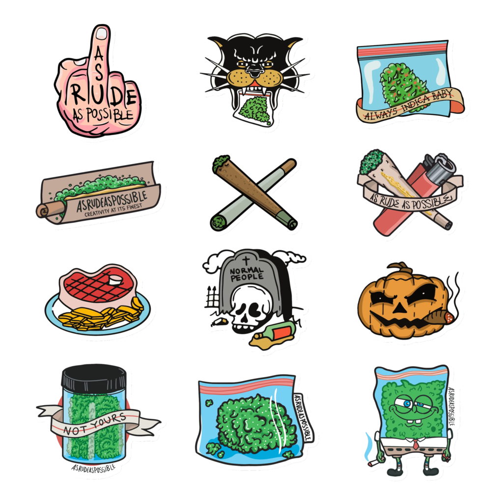 As Rude As Possible (ARAP) sticker designs and illustrations, stickerbomb