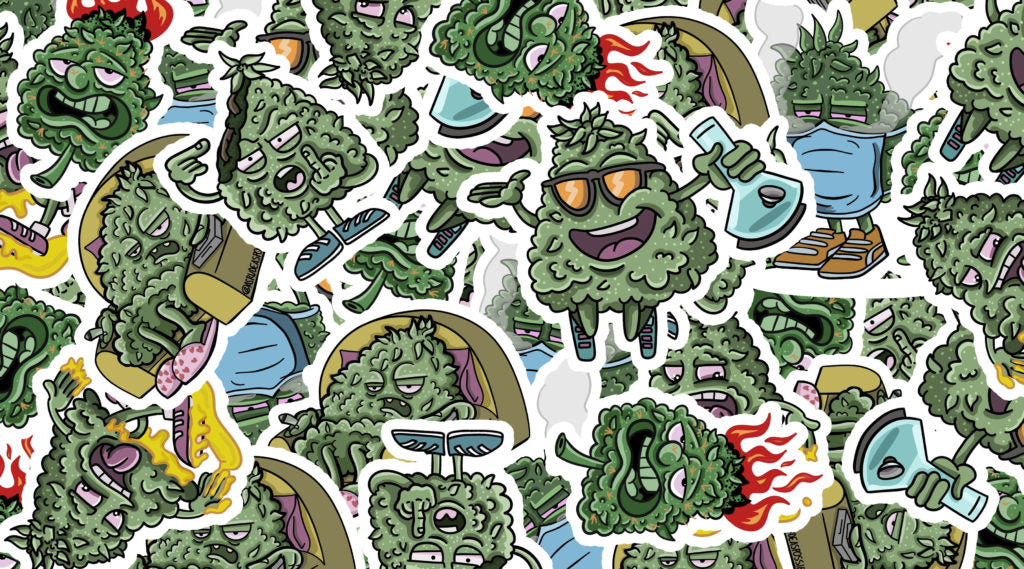 weed, green, herb, marijuana nuggets colourful illustrations, stickerbomb