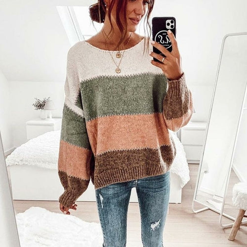 Striped Hit Color Long Sleeve Sweater
