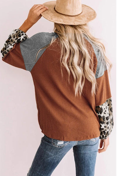 Patchwork Leopard Printed Tops Blouse - Southern Rae's