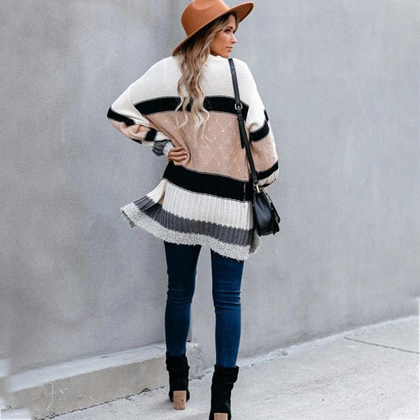 Women Patchwork Striped Color Knitted Sweater Coat
