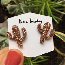 Maroon Rose Gold Cactus Sparkly Earrings - Southern Rae's