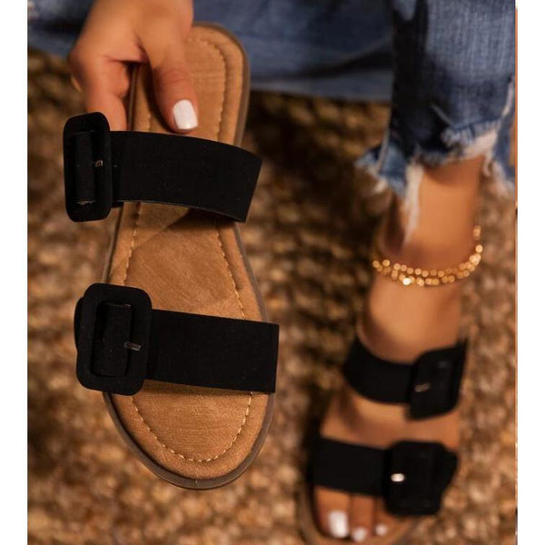 Fashion Chic Buckle White Female Sandals - Southern Rae's