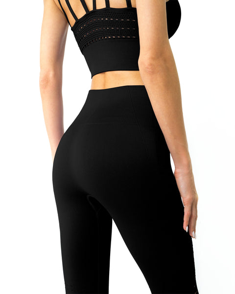 Mesh Seamless Legging with Ribbing Detail - Black - Southern Rae's