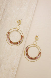 Neptune's Moon Blush Resin Hoop 18k Gold Plated Earrings - Southern Rae's
